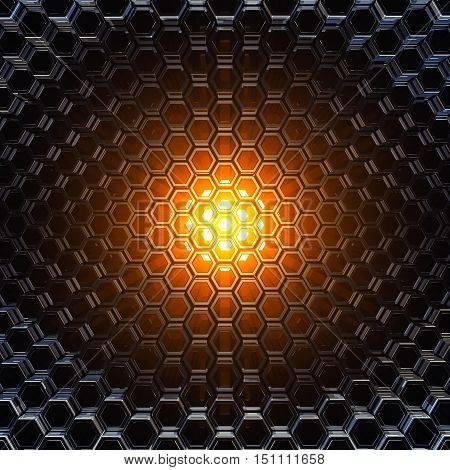 Orange light shining through metallic honeycomb tubes , 3d illustration