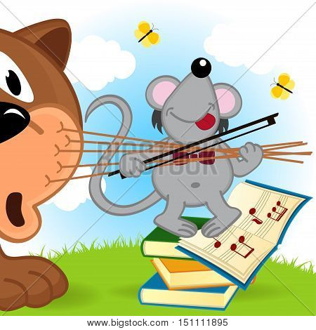 mouse violinist playing on nerves cat  - vector illustration, eps