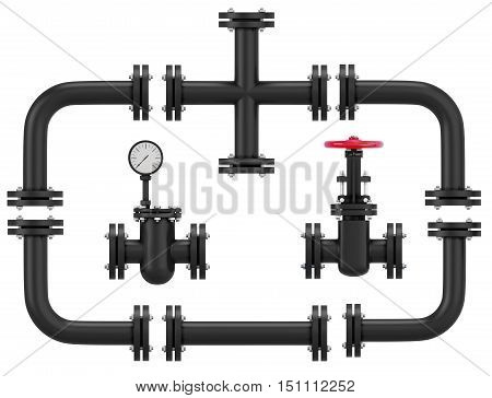 Set Of Pipeline Elements Isolated On White Background. 3D Rendering