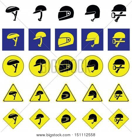 Warning sign of using variety of helmet to protect head when using vehicles