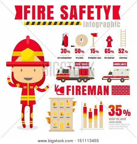 Infographic fire hydrant concept vector illustration on white background