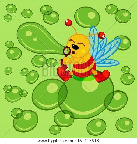 glowworm and bubble - vector  illustration, eps