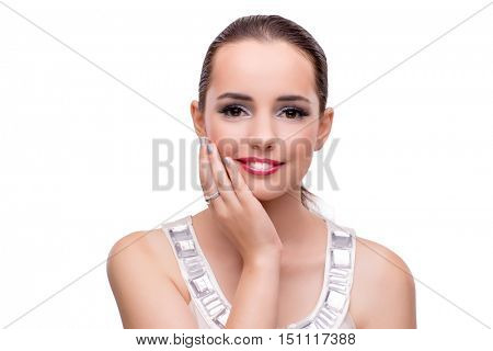 Young woman showing off her jewellery isolated on white