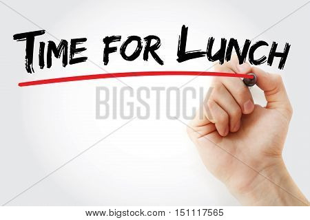 Hand Writing Time For Lunch With Marker