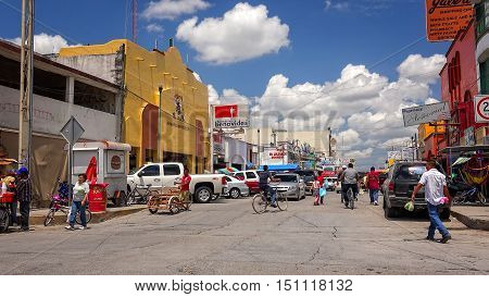 NUEVO PROGRESO, MEXICO - APRIL 23: A busy intersection in the mexican border town of Nuevo Progreso, Mexico on April 23rd, 2016.