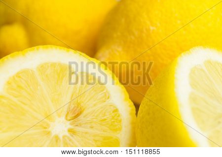 Sliced Lemons. Fresh Lemons. Healthy Food.  Citrus fruits. Fruits with a high vitamin C content.  Juicy Fruit. Close-up of Lemons. Yellow Citrons