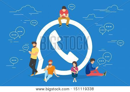Symbol of mobile messenger concept illustration of young people using mobile gadgets such as tablet pc and smartphone for texting and calling via internet. Flat design of guys and women near symbol