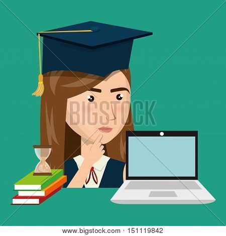 avatar woman with graduation cap and laptop computer device. education online design. vector illustration