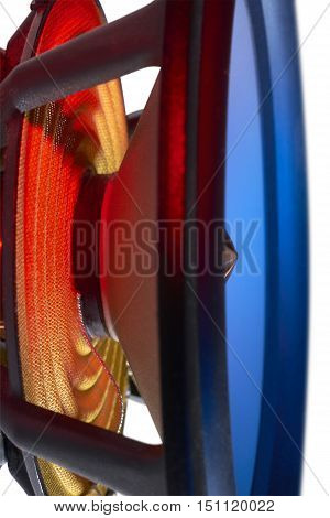 picture of a colorful illuminated loudspeaker detail