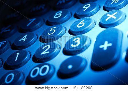 full frame blue illuminated numeric keypad detail