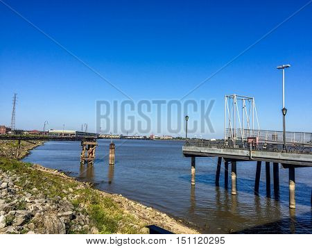 View of the Mississippi River from the French Quarter in New Orleans