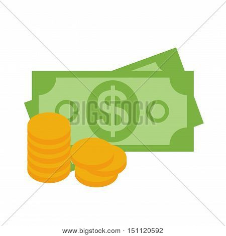 US Dollar Stack Paper Banknotes and Gold Coins  Icon Sign Business Finance Money Concept Vector Illustration EPS10