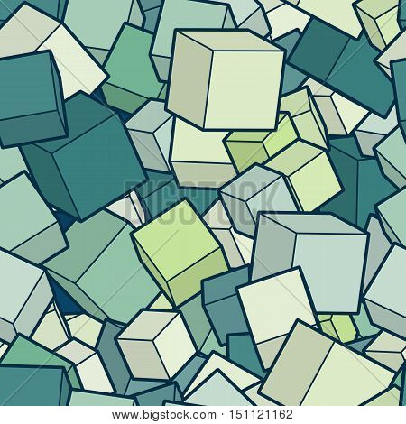Seamles vector background. Illustration of abstract texture with green squares. Pattern design for banner, poster, card, postcard, cover, brochure