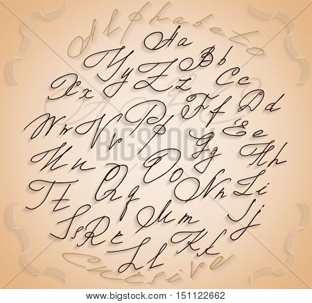 Latin cursive cursive alphabet with shadows inside the circle framed with decorative ribbons