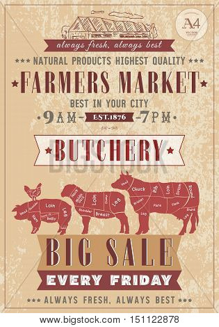 Butcher shop vintage poster fresh meat beef pork lamb. Farm market. Cow chicken pig sheep chicken meat cuts. Butchery retro poster hand drawn vector