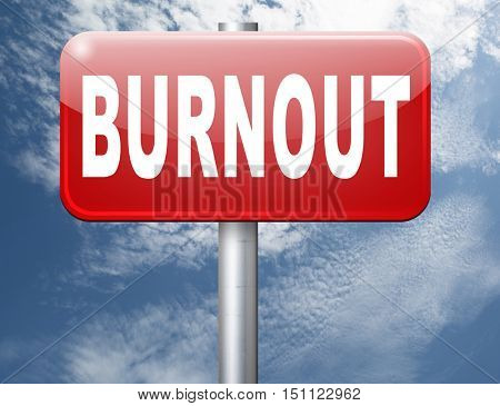 Burnout or work stress. Occupational burn out or job demotivation, exhaustion, no enthusiasm or motivation, ineffectiveness and demotivated. 3D illustration