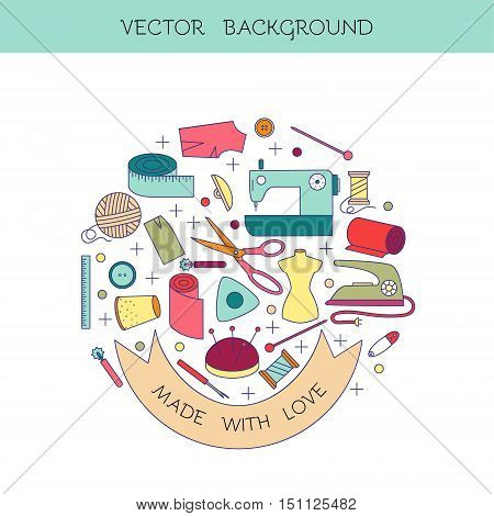 Modern line style sewing and needlework circle conceptual illustration with different elements including thread scissors mannequin and other gear. Sewing and needlework concept. Sewing icon.