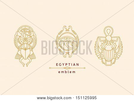 set emblem on Egyptian scarab with wings and a cross