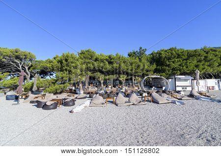 BOL, ISLAND BRAC, CROATIA - JULY 17, 2016: Aurum Club at Zlatni rat beach waiting for guests from Ultra 2016 festival