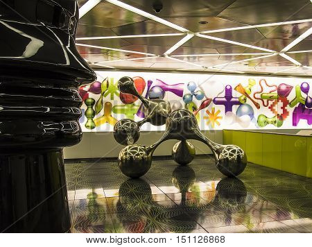 NAPLES May 5 2014: Station of the University of Naples metro line 1. There are the particular sculptures designed by Rashid the most striking of these is called Synapsi. The station was inaugurated in 2011 in Naples Italy