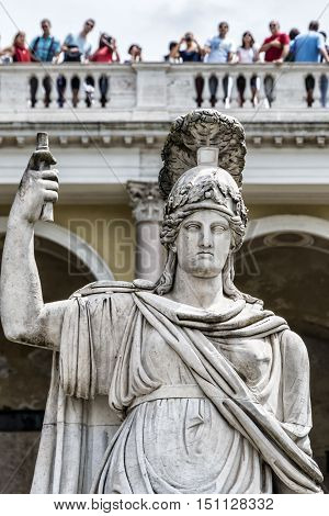 Detail of the statue of the Fountain of the Goddess of Rome and the Pincio terrace in Piazza del Popolo in Rome