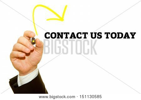Hand writing CONTACT US TODAY with a marker on transparent wipe board.