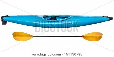 blue plastic whitewater kayak with a paddle, isolated on white