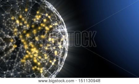 Plexus sphere: fantasy abstract technology and engineering background. 3D rendering.