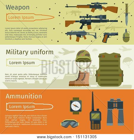 Military banners or army backgrounds set vector. Ammunition military and weapon with military uniform illustration