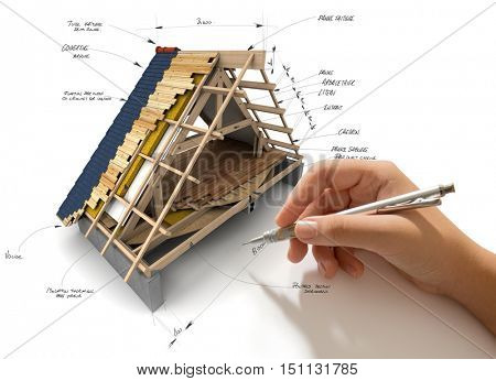 Hand sketching house roofing technical details