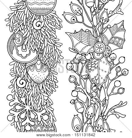 seamless borders vector set in doodle style floral ornate decorative tribal