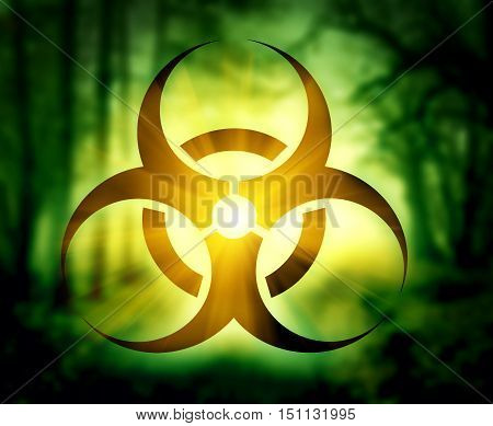 Pictogram of biohazard symbol with glowing forest