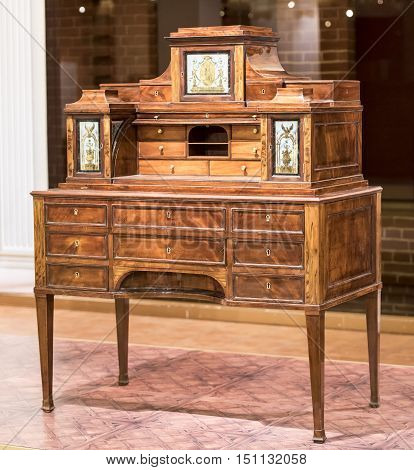 Moscow Russia -September 092016: Bureau- workshop G. Gambs. Early 19th century. Historical Museum