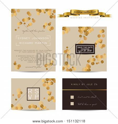 Elegant wedding set with rsvp and save the date cards decorated with golden glitter.