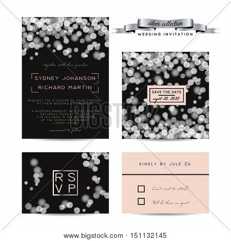 Elegant wedding set with rsvp and save the date cards decorated with silver glitter.