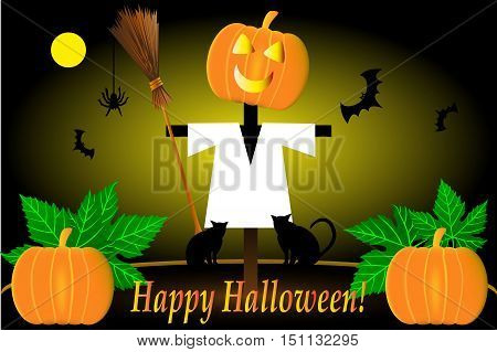 Scarecrow , Halloween scarecrow , Scarecrow pumpkin and bats , happy halloween