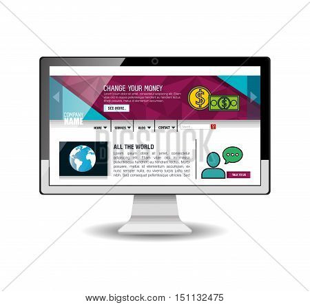 model website at device electronic vector illustration design