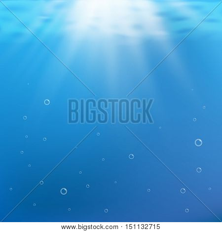 Blue under water background. Rays of light under water vector illustration