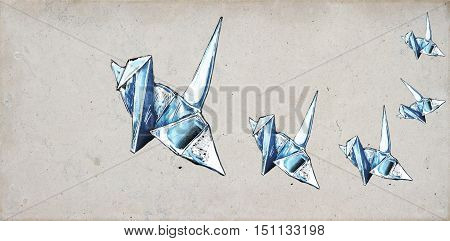 Origami crane sketches on concrete background, close up