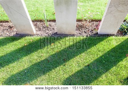 in the cemetery of the deceased soldiers