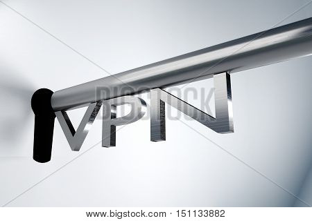metal key server lock keyhole vpn 3D illustration