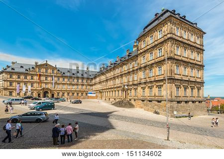 Bamberg Germany - May 22 2016: Tourists at New Residence (Neue Residenz) in Bamberg Germany on May 6 2016. The New Residence was the former residence of the bishops of Bamberg.