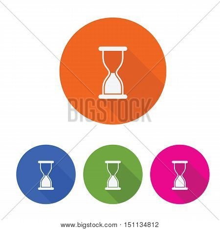 sand clock long shadow flat icon vector design