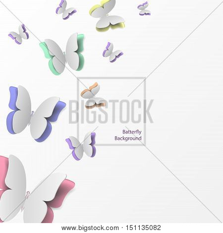 Red blue green yellow orange paper butterflies flying. butterfly isolated on white background. flying butterflies vector.