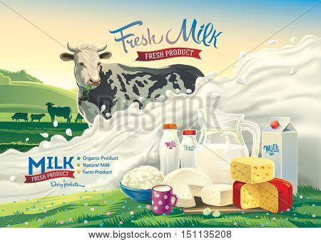 Vector illustration with a cow, a splash of milk and a set of dairy products: cheese, milk, yogurt, against the background of a rural landscape.