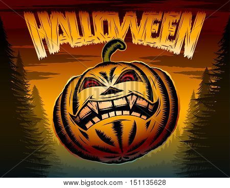 Halloween Pumpkin with eyes and toothy mouth in a terrible night forest; Vector poster background for holiday of evil spirits and devilry; Eps8