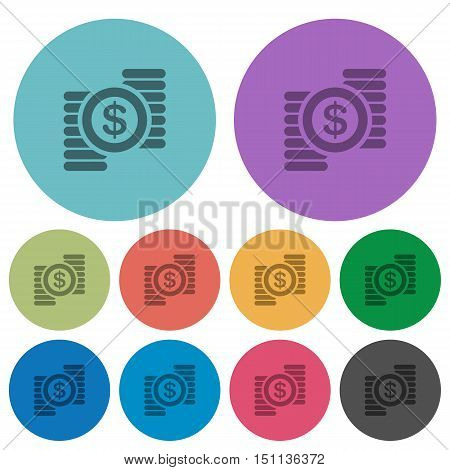 Color Dollar coins flat icon set on round background.