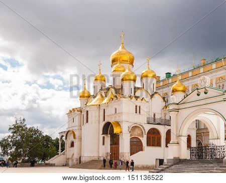 MOSCOW RUSSIA - AUGUST 30, 2015: The Cathedral of the Annunciation is a Russian Orthodox church located in Moscow Kremlin Russia.