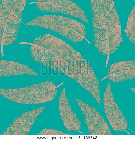 Seamless pattern with feathers. Abstract background with colored feathers. Pastel feathers