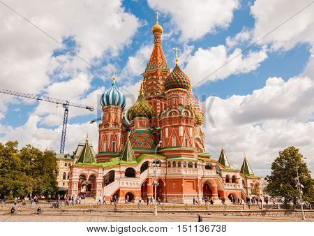MOSCOW RUSSIA - AUGUST 30 2015: The Cathedral of Vasily the Blessed commonly known as Saint Basil's Cathedral is a church in Red Square in Moscow Russia.